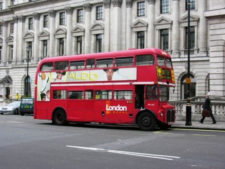 Typical London red bus, Regent street, London, UK
