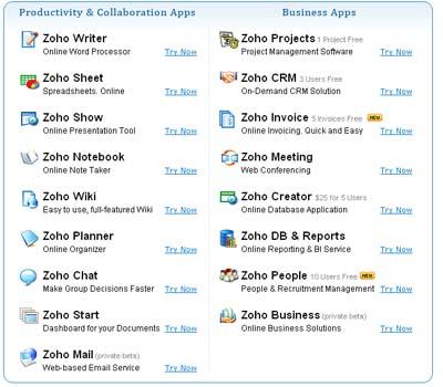Zoho applications
